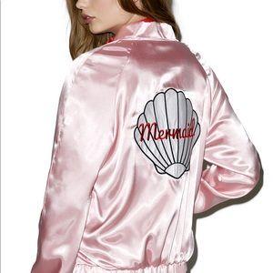 Mermaid rare Valfre pink satin bomber jacket!